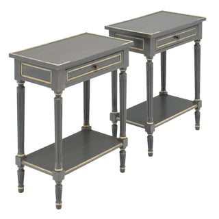 Louis XVI Style Gray Painted Side Tables - a Pair For Sale