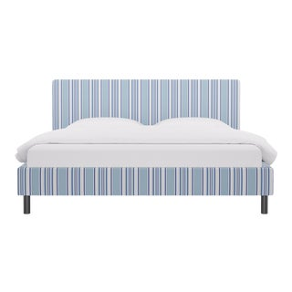 King Tailored Platform Bed In Porcelain Austin Stripe By Old World Weavers For Sale