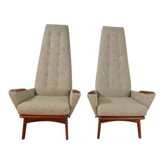 """Adrian Pearsall for Craft Associates """"Slim Jim"""" Model 1865-C High Back Lounge Chairs - A Pair"""