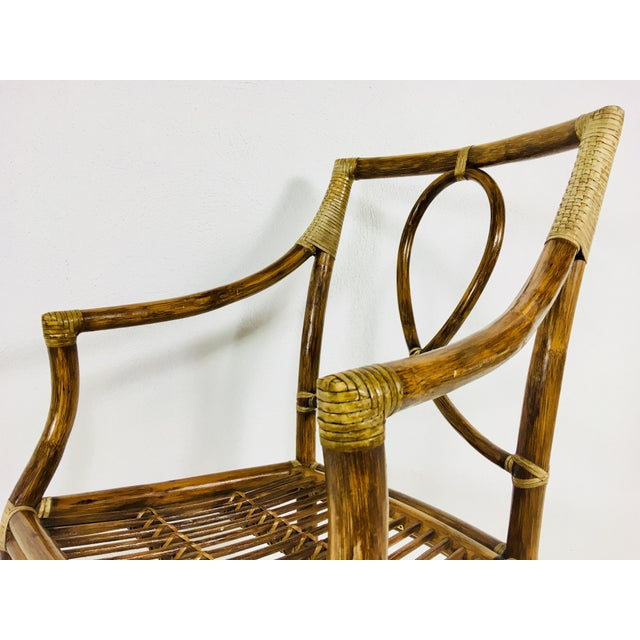 1980s Mid-Century Modern McGuire Rattan Dining Arm Chairs - Set of 6 For Sale - Image 11 of 13