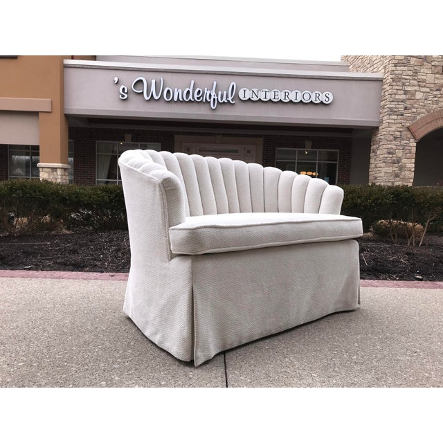 1940s 1940s Vintage Channel Back White Chenille Settee Loveseat Hollywood Regency Era For Sale - Image 5 of 9