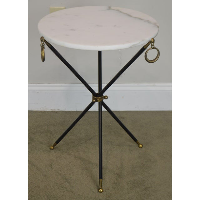 Mid-Century Modern Tripod Mid Century Regency Style Round Marble Top Side Table After Robsjohn Gibbings For Sale - Image 3 of 13