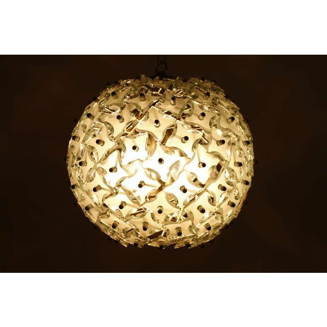 """Metal Glass and Metal """"Snowball"""" Chandelier, Italy, 1960s For Sale - Image 7 of 8"""