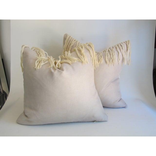 White Southwestern Blanket Fringe Pillows - A Pair - Image 5 of 7