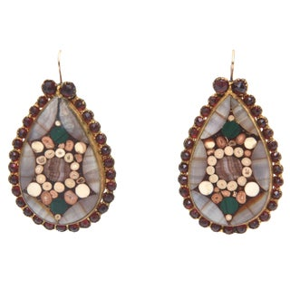 Vintage Inlay Agate/Quartz Stone Dangle Drop Earrings - a Pair For Sale
