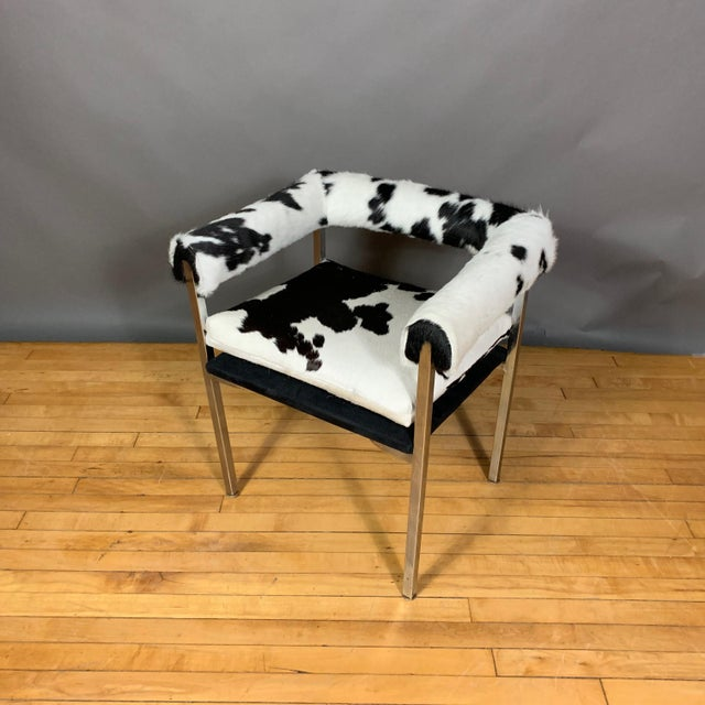 Silver American Modern 1960s Chrome & Hide Rollback Armchair For Sale - Image 8 of 11