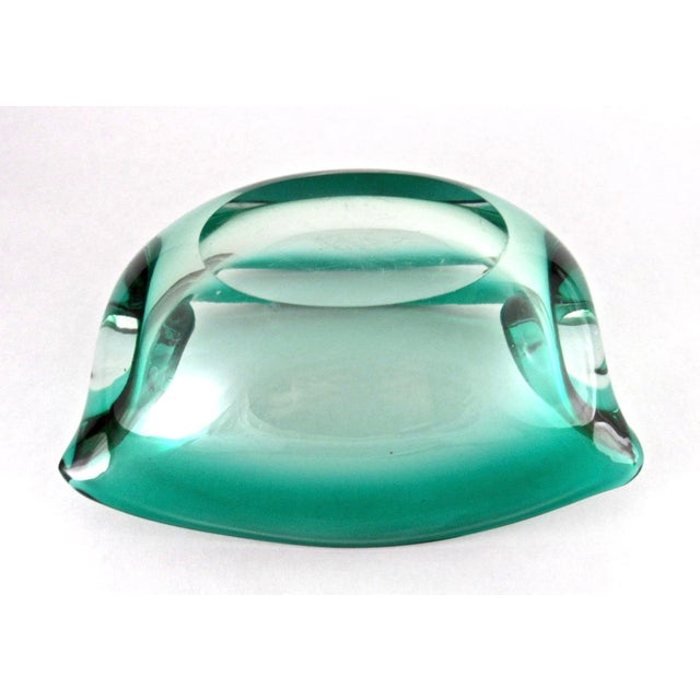 Glass Green Mid Century Hand Blown Glass Cigar Ashtray For Sale - Image 7 of 9