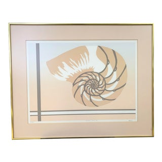 Chambered Nautilus Shell Lithograph Signed by Artist For Sale