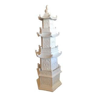 Chinoiserie White Lacquered Pagoda Statue For Sale