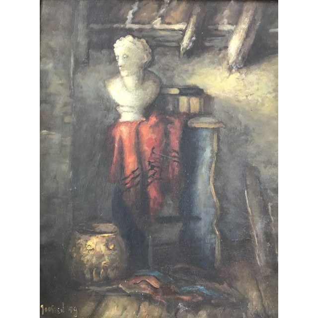 1950s Vintage Still Life with Marble Bust Framed Oil Painting For Sale - Image 9 of 10