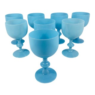 1900s French Blue Opaline Glassware Wine Glasses - Set of 8 For Sale