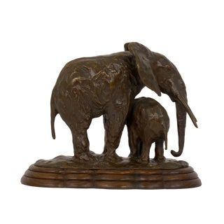 """Elephant With Its Young"" French Modernism Bronze Sculpture by Ary Bitter For Sale"