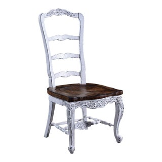 Side Chair Dining French Country Farmhouse White For Sale