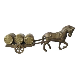 Vintage Brass Horse and Cart Figurine For Sale