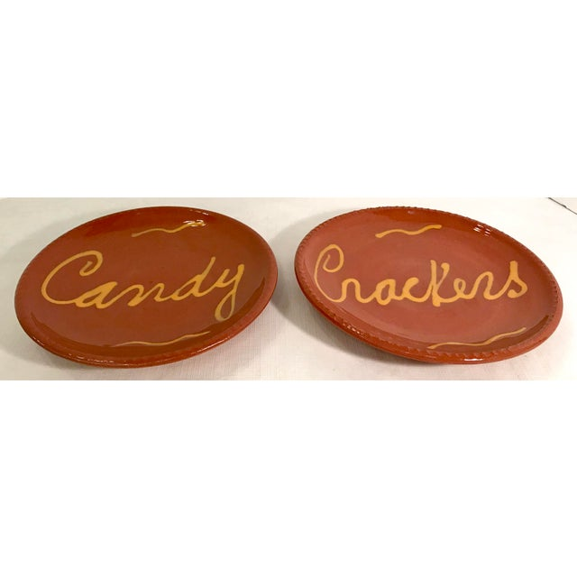 Traditional Vintage Mid-Century Terra Cotta Slip Design Snack Plates - A Pair For Sale - Image 3 of 7