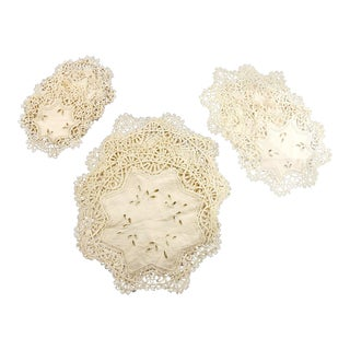 Vintage Lace Table Mat Set - Set of 17 For Sale