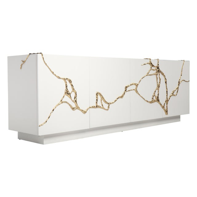 Akar 4-Door Credenza in White Lacquered Resin & Lava Brass by Sylvan Sf For Sale In San Francisco - Image 6 of 6