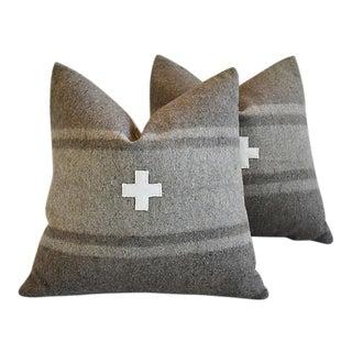 "22"" Custom Tailored Italian Appliqué Cross Wool Feather/Down Pillows - a Pair For Sale"