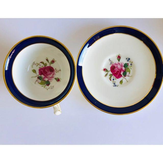 Ceramic Elegant Vintage Rose Design English Bone China Set of 7 Tea/Coffee Cups & Saucers For Sale - Image 7 of 8
