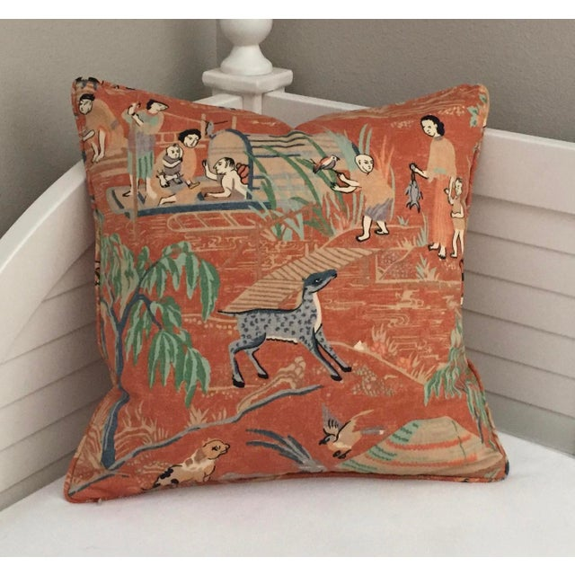 Asian Thibaut Fishing Village Patterned Orange Pillow Cover For Sale - Image 3 of 4