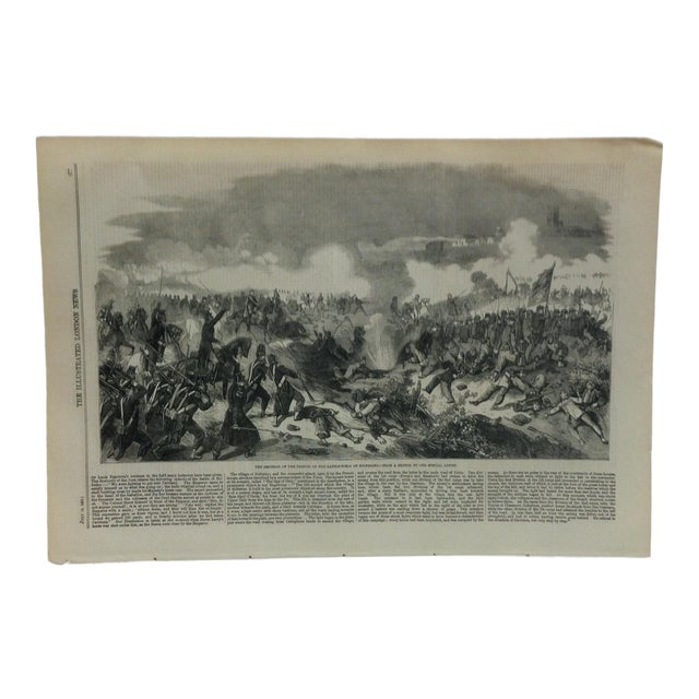 """1859 Antique """"The Emperor of the French on the Battle-Field of Solferino"""" The Illustrated London News Print For Sale"""