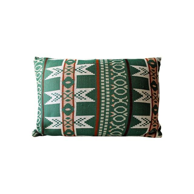 Vintage Bohemian Ikat Green Kilim Pillow - Image 1 of 6