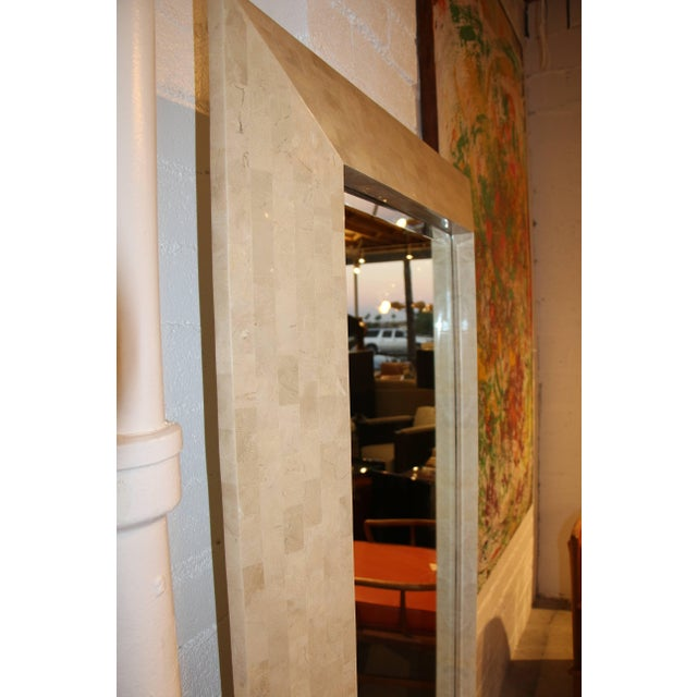 Karl Springer Tessellated Stone Mirror With Label For Sale In Palm Springs - Image 6 of 9