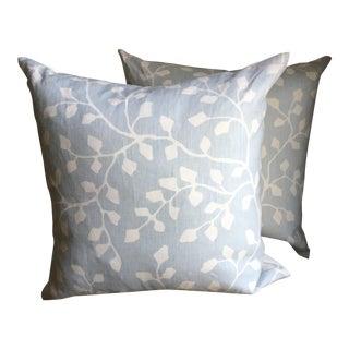 Powder Blue Linen Pillows - A Pair For Sale