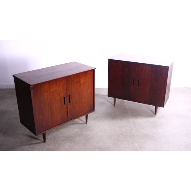 About this Intense Matching Pair of Arne Vodder Cabinets This pair is wonderfully crisp and simple in its appearance, but...