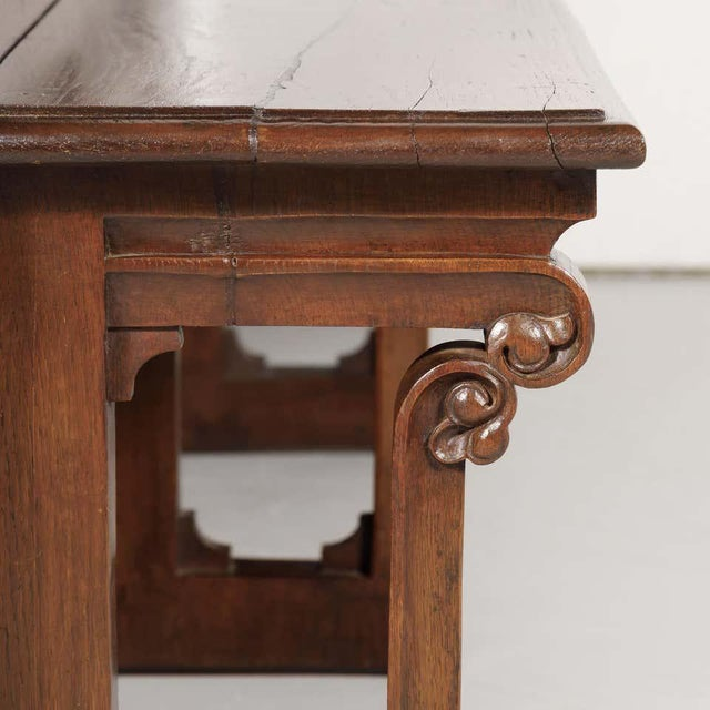 19th Century French Gothic Revival Period Church Pew or Hall Bench For Sale - Image 9 of 13
