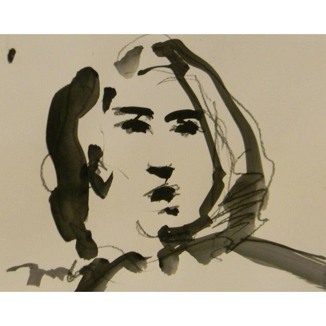 "Jose Trujillo Signed Minimalist Acrylic Painting on Paper - Portrait Decor - 11x14"" For Sale"