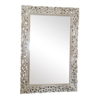 White Washed Carved Wood Mirror For Sale