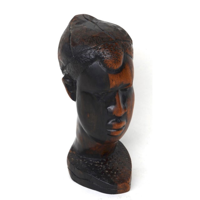 Wood Mid Century African Wood Carved Head For Sale - Image 7 of 10