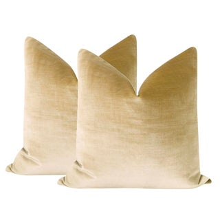 "22"" Champagne Velvet Pillows - a Pair For Sale"