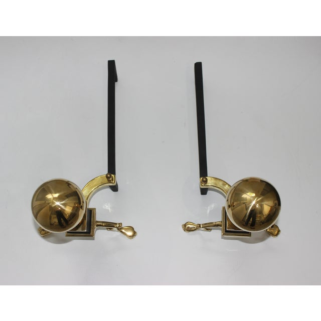 Gold 19c Fireplace Accesories Regency Style Andirons - a Pair For Sale - Image 8 of 11