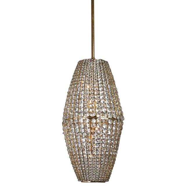 1950s Austrian J. & L. Lobmeyr Crystal Pendant Lantern For Sale