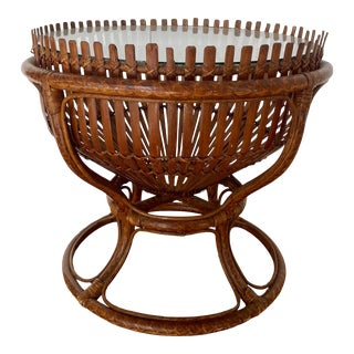 Vintage Franco Albini Style Fish Trap Basket Table For Sale