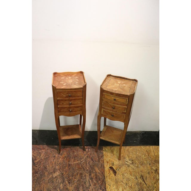 20th Century Italian Louis XV Style Inlay Wood Pair of Side Tables or Nightstand For Sale - Image 12 of 13
