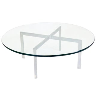 Knoll Style Chrome & Glass Top Coffee Table