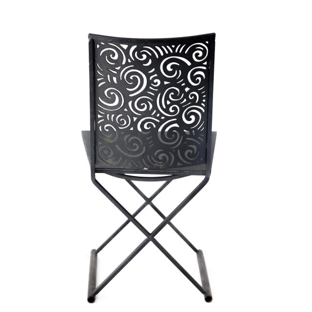 Black Artisan Torch Cut Iron/Steel Chairs - Set of 4 For Sale - Image 8 of 10