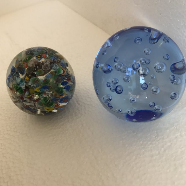Transparent Bubble Glass Vintage Paperweights - A Pair For Sale - Image 8 of 8