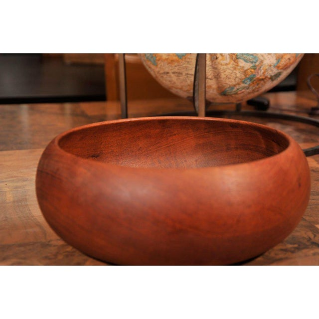 1950's Hand Turned Danish Teak Bowl For Sale - Image 4 of 6