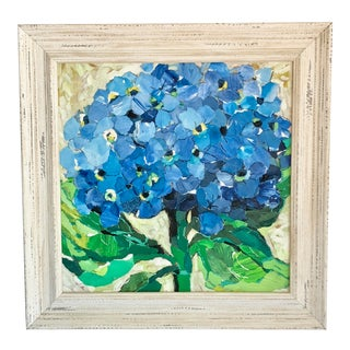 Framed Blue Hydrangea Paint Collage For Sale
