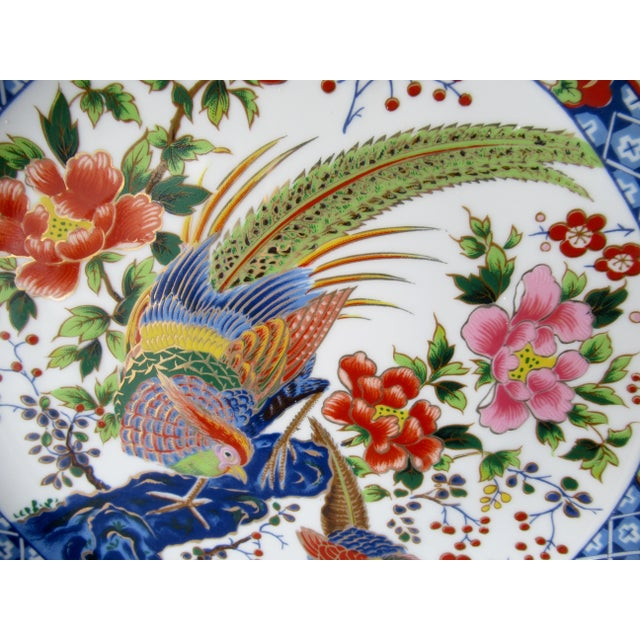 Ceramic Vintage Hand-Painted Porcelain Japanese Imari Decorative Wall Plate For Sale - Image 7 of 13