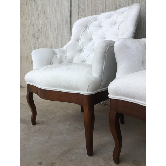 19th Pair of Louis XV Bergère Armchairs in White Velvet For Sale - Image 10 of 12