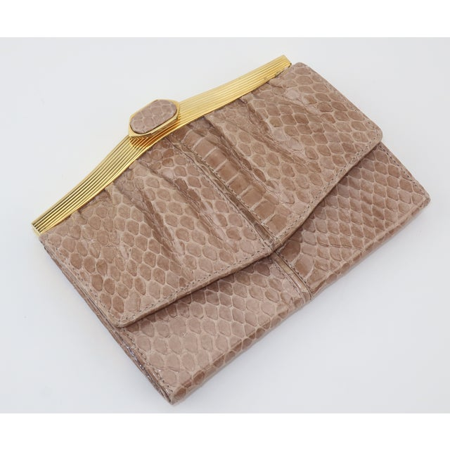 Metal Judith Leiber Taupe Snakeskin Wallet For Sale - Image 7 of 13