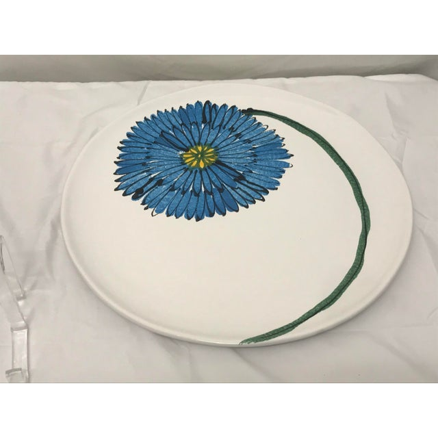 Vietri round platter with a blue flower motif.