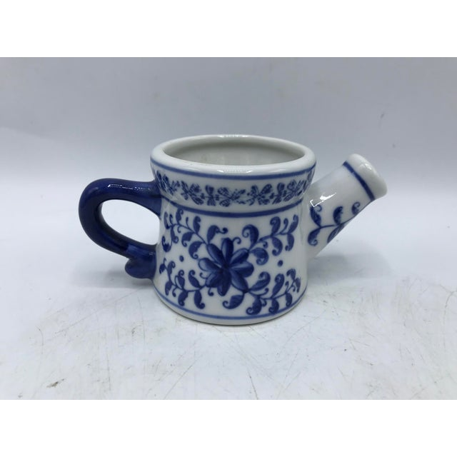 Ceramic Blue and White Porcelain Miniature Watering Can Sculpture For Sale - Image 7 of 7