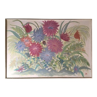 Midcentury Painting in Pastel Colors - Garden Flowers - Field of Mums For Sale