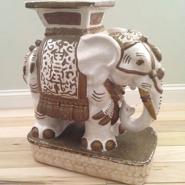 Vintage Ceramic Elephant Garden Stool - Image 3 of 7